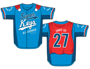 "A prototype of the special-edition ""Superhero"" jerseys worn by the Frederick Keys"