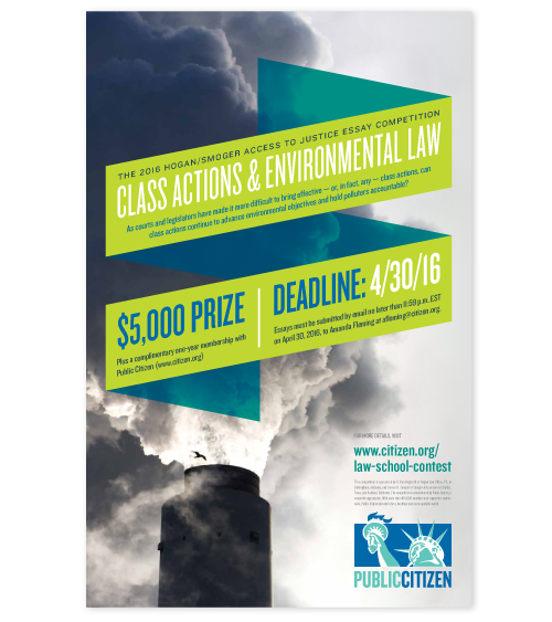 environmental law essay contest This annual essay competition is held by the centre for international sustainable development law, the mcgill journal of sustainable development law, the law and policy (jsdlp), provides a forum in which the world's leading scholars exchange ideas on the intersection between law, development, the environment,.